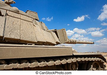 Old Israeli Magach tank near the military base in the desert...