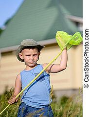 Chłopiec, młody, klęczący, dzierżawa, netto, trawa, Pluskwa