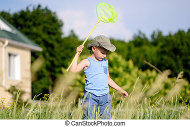 Boy with Bug Net Exploring Long Grass - Young Boy with Bug...