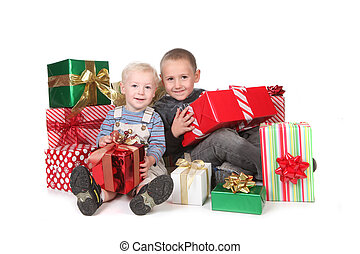Kids Having a Good Christmas With Lots of Presents -...