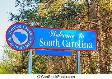 Welcome to South Carolina sign at the state border