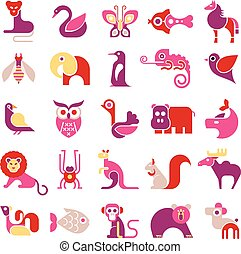 Animal vector icon set - Animals, birds and fishes - large...