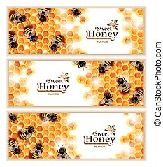 Honey Banners with Working Bees - Vector set of three...