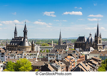Imperial City of Aachen at summer - A view of Aachen city...