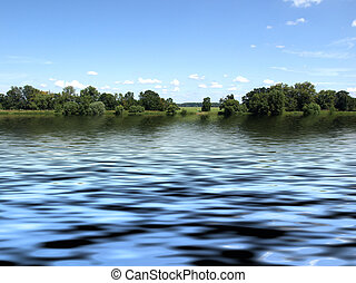 River Elbe - View of River Elbe in Dessau, Germany
