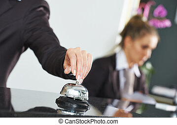 Hotel worker on reception - female receptionist worker...