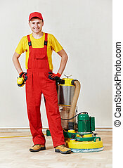 parquet floor worker with polishing machine