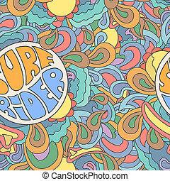 Colored surfing retro hand drawn pattern. Summer, surf rider...