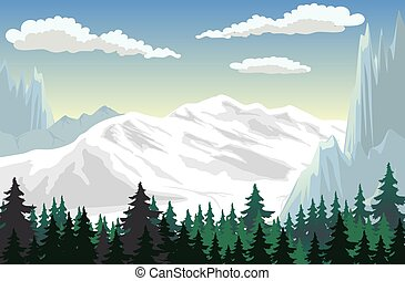 Mountain Scene - Illustration of a forest at the mountains