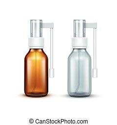 Vector Blank Glass Medical Spray Bottle Isolated