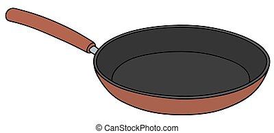 Red pan - Hand drawing of a red nonadhesive pan