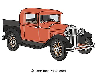 Vintage pick-up - Hand drawing of a vintage red and black...