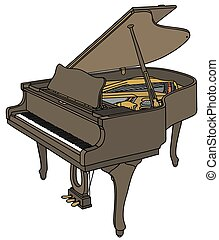 Grand piano - Hand drawing of a vintage grand piano