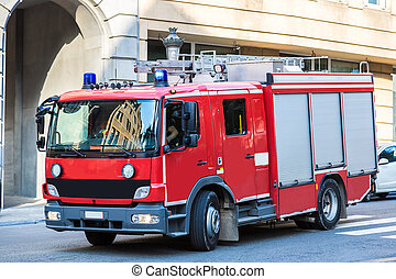 Red fire truck in Brussel - Red fire truck in a beautiful...