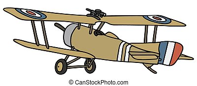 Vintage military biplane - Hand drawing of a vintage...