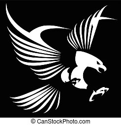 eagle with the spreading wings - Flying white eagle with the...