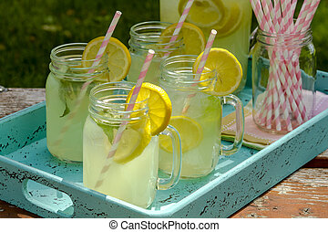 Fresh Squeezed Lemonade on the Patio - Close up of fresh...