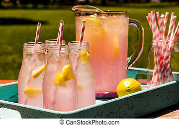 Fresh Squeezed Pink Lemonade on the Patio - 4 small glass...