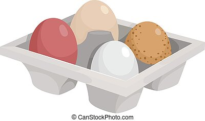 Chicken Eggs - Illustration of a Tray Filled With the Eggs...
