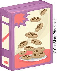 Chocolate Chip Cookies - Illustration of a Box of Chocolate...