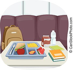 Food School Cafeteria Table - Illustration of a Tray of...