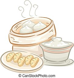 Food Dimsum - Illustration of a Plate of Dimsum and a...