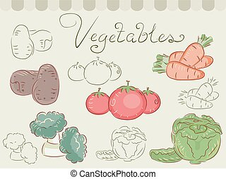 Vegetables - Illustration of Different Vegetables Grouped...