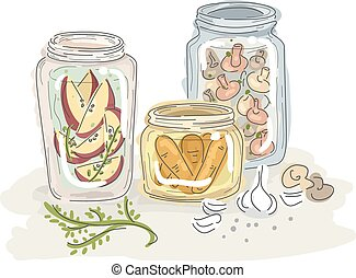 Canning Sketch - Sketchy Illustration of Fruits and...