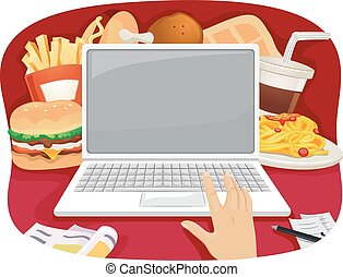 Fast Food Online Order - Cropped Illustration of a Person...
