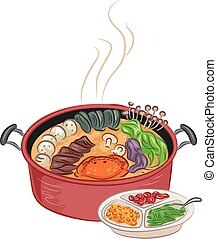Hot Pot - Illustration of a Steaming Hot Pot With Additional...