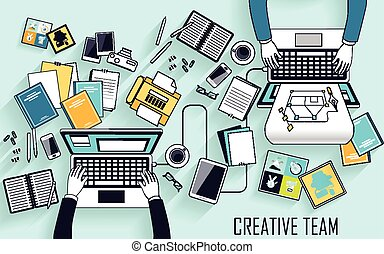working place of creative team in line style