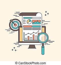 data analytic concept: magnifying glass with business chart...