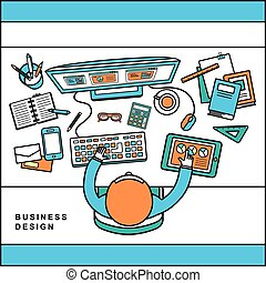 top view of business design concept in line style