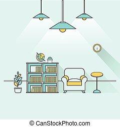 creative furniture topic in flat line design