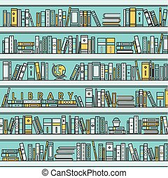 library scene illustration in flat line style