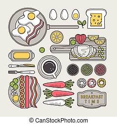 delicious breakfast food in flat line design