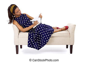 Retro Girl With Diary - Black female in vintage clothing...