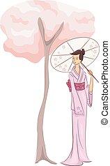 Girl Kimono Tree - Illustration of a Woman in a Kimono...