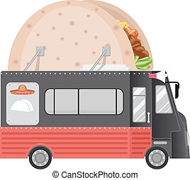 Food Truck Tacos - Illustration of a Food Truck With a Taco...