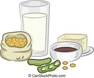 Food Soya Products - Illustration of a Group of Soya Beans...