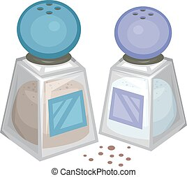 Salt Pepper - Illustration of a Salt and Pepper Shakers...