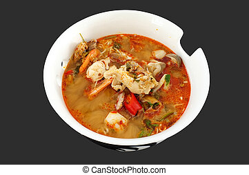 Spicy seafood soup, Thai food