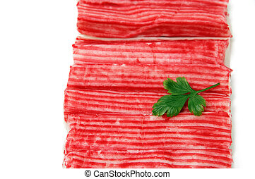 crab sticks - red crab sticks on a white background