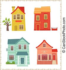 Two Story Houses - Cartoon set of four colorful two story...