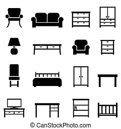 Home decor and furniture icons - Home decor and furniture...