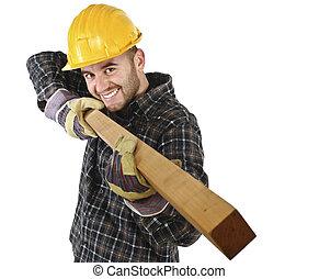 divertimento, ha, lavoro, giovane, carpentiere