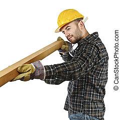 bianco, lavoro, isolato, carpentiere