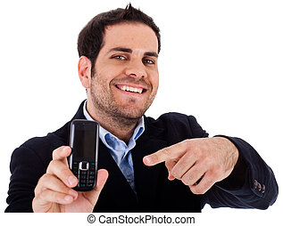 Closeup shot of business man pointing at the mobile