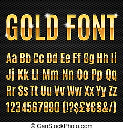 Golden font - Golden alphabet letters numbers and signs...