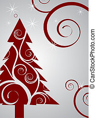 christmas tree - vector illustration of a red christmas tree...
